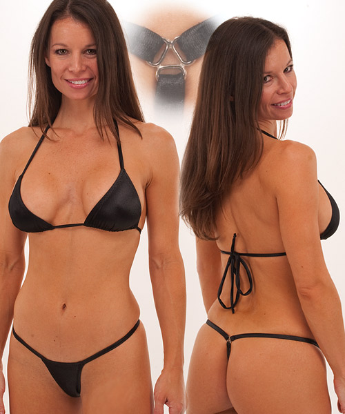in a hot Black Wet Look G-String Thong Bikini along