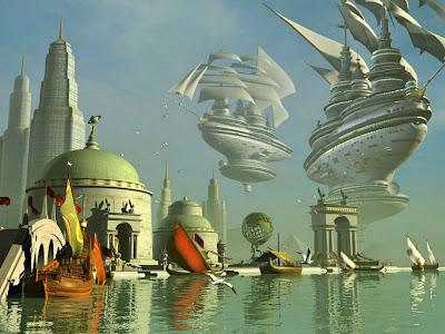 Puerto flotante con palacios y edificios