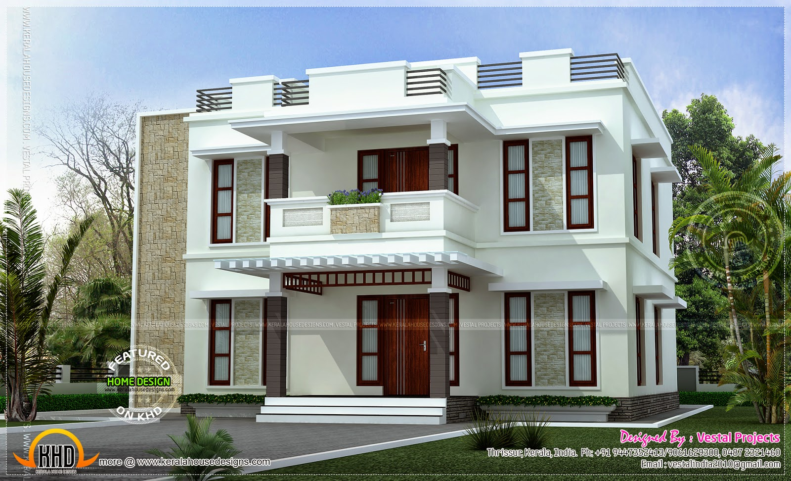 Beautiful home design flat roof style kerala home design for Beautiful home blueprints