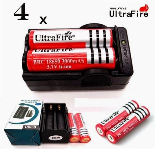 4 x 18650 battery Rechargeable 3000mAh 3.7V Li-ion batteries+ Smart Dual Charger