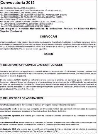 Resultados Comipems UNAM CENEVAL Examen 2012 Nivel Medio Superior Bachillerato