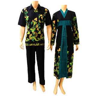 Baju Batik Sarimbit Gamis Model kerah V