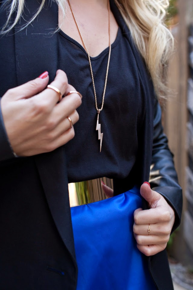 Pantone, Bright Cobalt, Metallic Belt, Brave Leather, Vitaly Jewelry