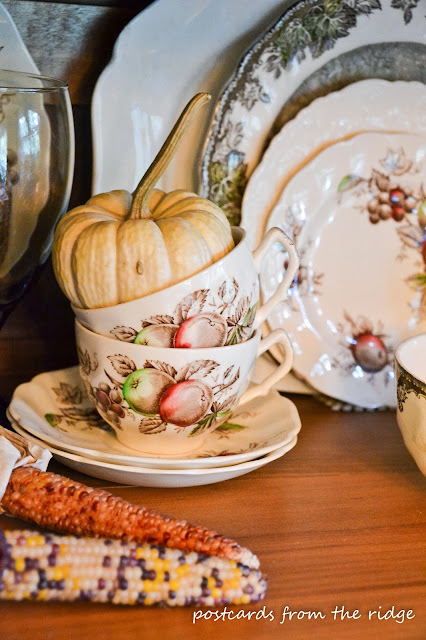 Breakfast room tour.  I love the baby pumpkins and vintage dishes!