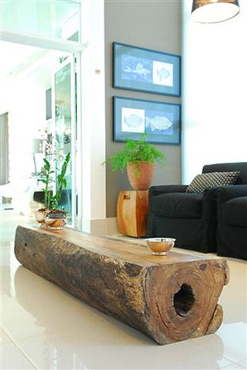 Mesa com tronco de madeira decora o e inven o - Mesa de tronco ...