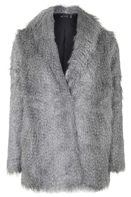 religion fur coat, grey fur coat,