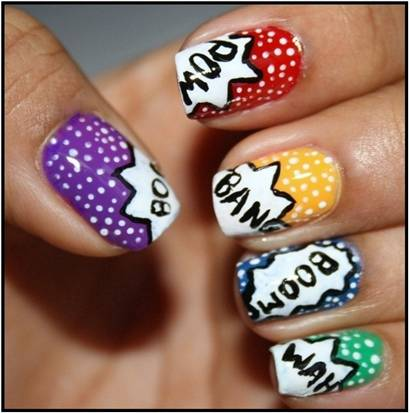 30 simple nail art designs and ideas for beginners with images comic word nail art designs prinsesfo Images