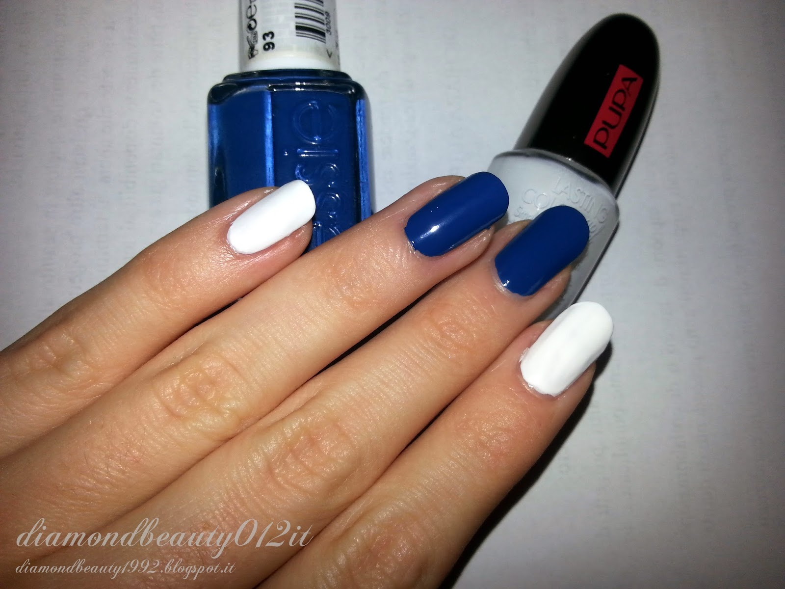 navy flower nails