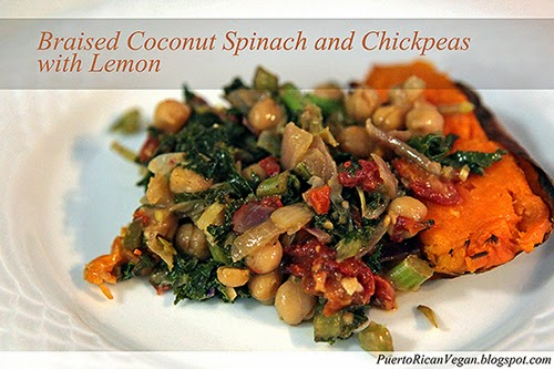 Braised Coconut Spinach and Chickpeas with Lemon
