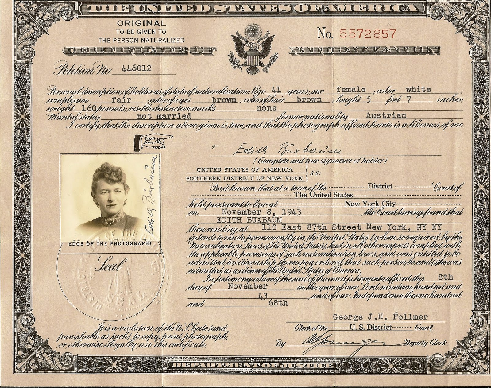 Edith buxbaum phd 1902 1982 she led with her mind edith buxbaum phd 1902 1982 she led with her mind naturalization certificates ny addresses margaret mahler a drivers license xflitez Images