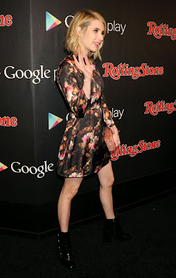 Emma Roberts in short floral mini dress at Rolling Stone Google Play Grammy Event