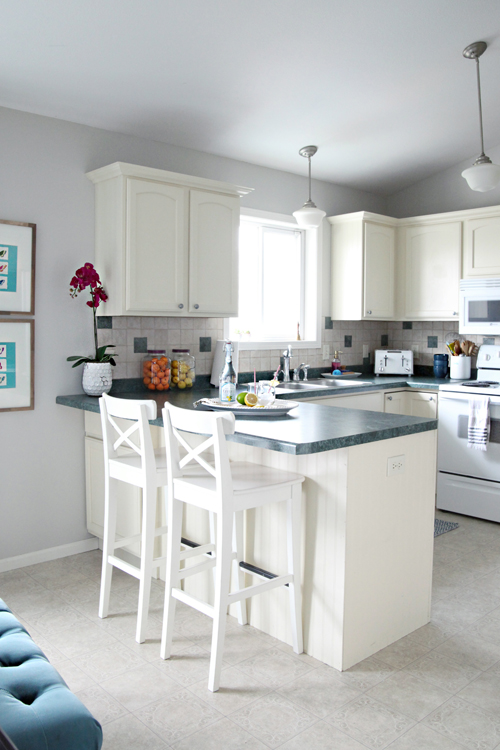 Iheart organizing iheart my home home tour for Behr white paint for kitchen cabinets