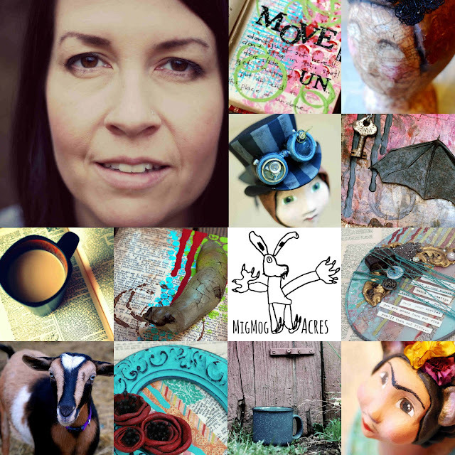 artist, goat farmer, mixed media, collage, art journal, Monday Mugshots