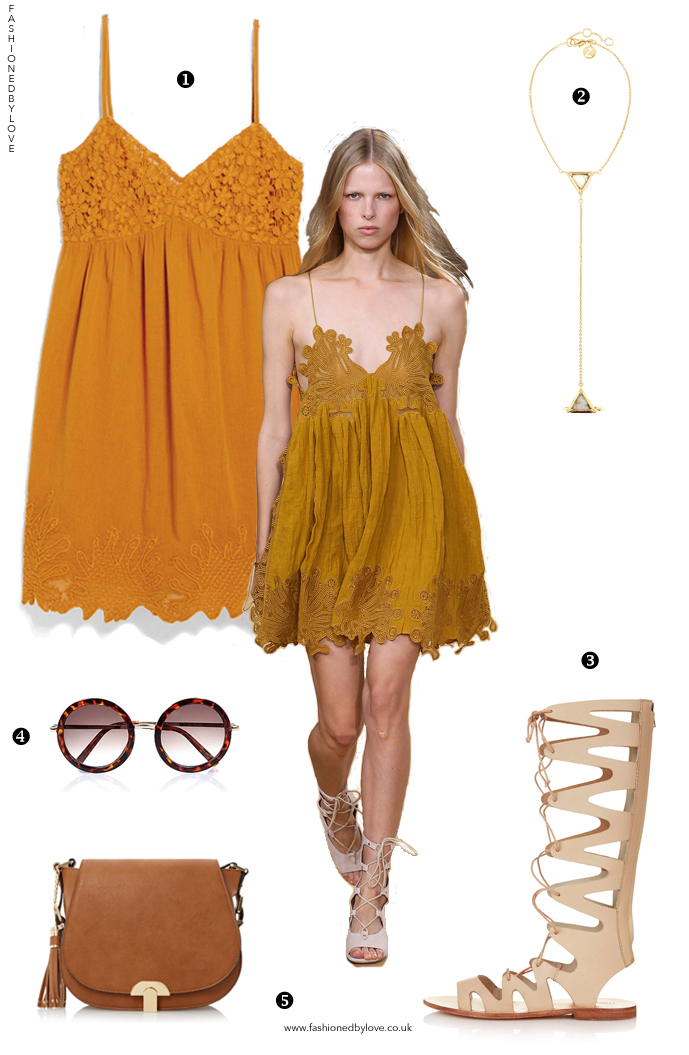 Chloe Spring/Summer 2015 crochet lace mustard dress / designer look for less / Coachella Boho style outfit inspiration / Chloe-inspired outfit idea / via fashioned by love British fashion blog