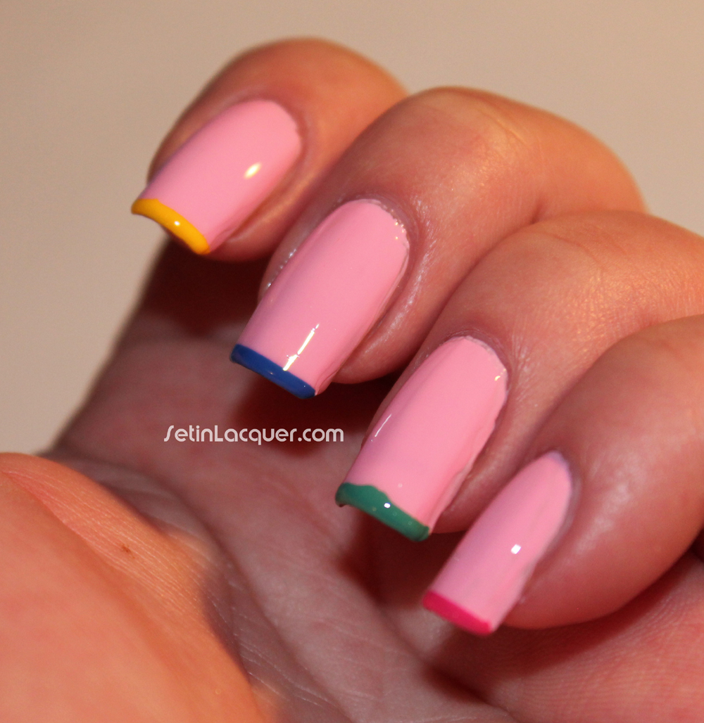 Simple nail art - multi color tips - Set in Lacquer