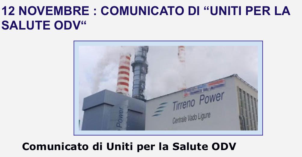 """12 NOVEMBRE : COMUNICATO DI """"UNITI PER LA SALUTE ODV"""""""