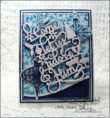 Our Daily Bread Designs, Tree Trimmings Trio, Snowflake Background, Leafy Edged Borders, Tree Trimming Trio dies, O Come Let us Adore Him die, designed by Chris Olsen