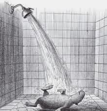 Capyboppy having a shower laying down illustration by Bill Peet