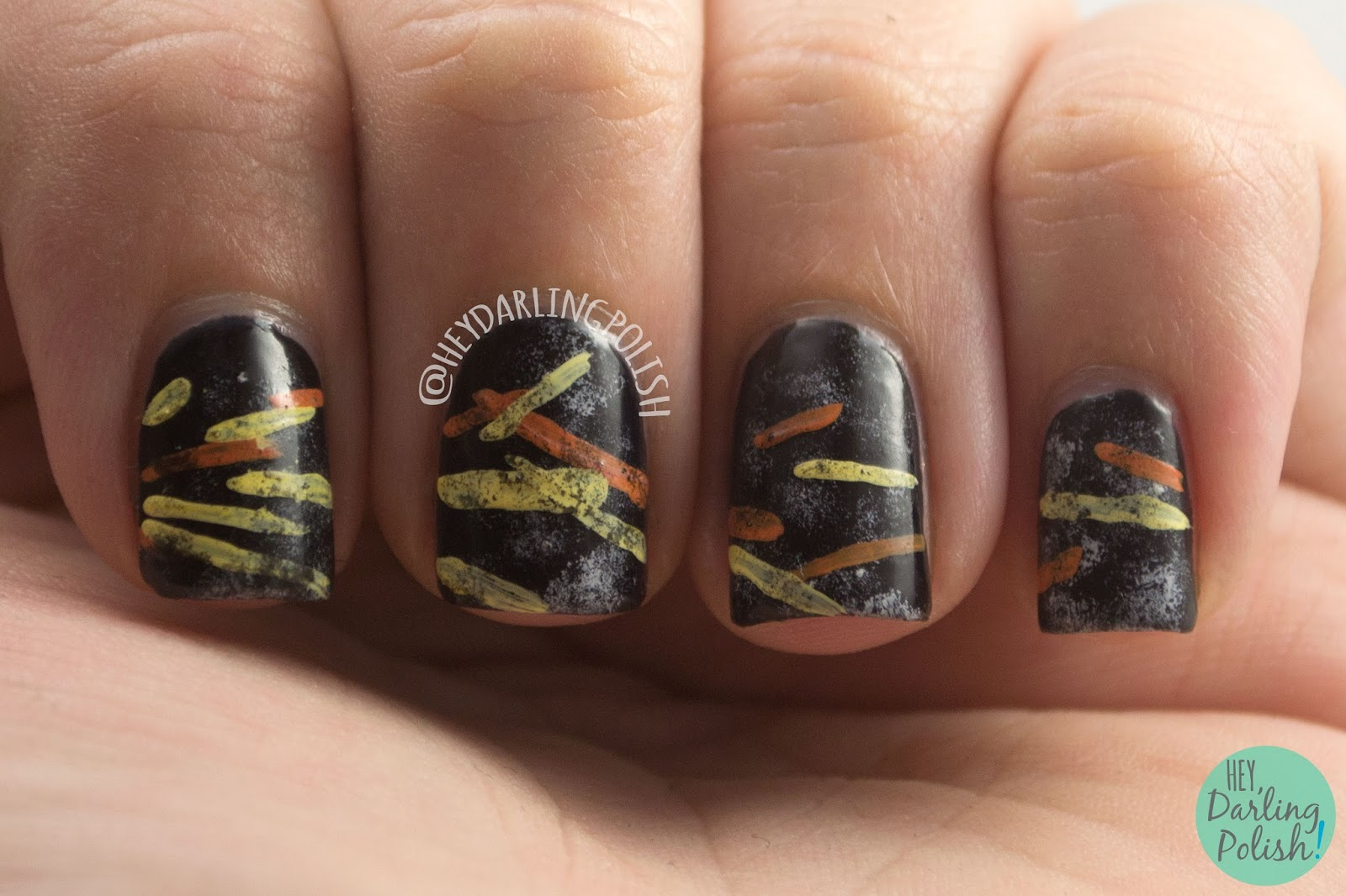 nails, nail art, nail polish, now now every children, lines, black, hey darling polish, finger food theme buffet, music