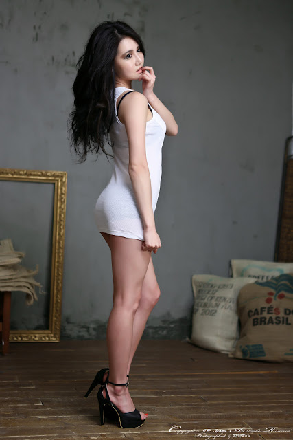 4 Han Ga Eun - White Mini Dress - very cute asian girl - girlcute4u.blogspot.com