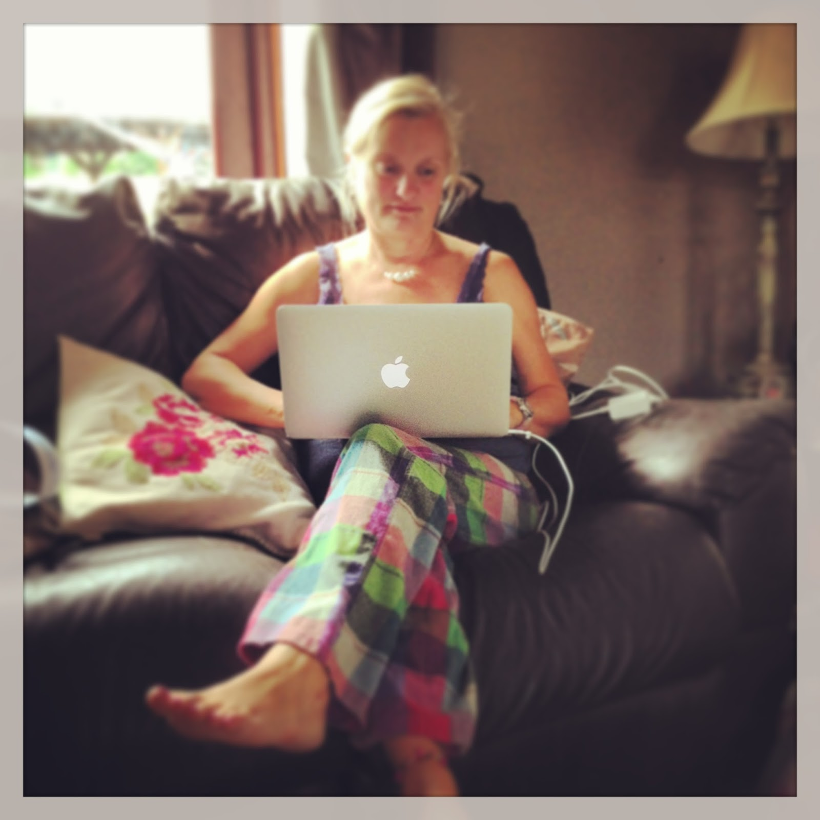 blogger at work in pyjamas
