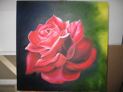 rosa pintada a óleo