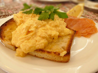 Classic scrambled eggs with salmon image