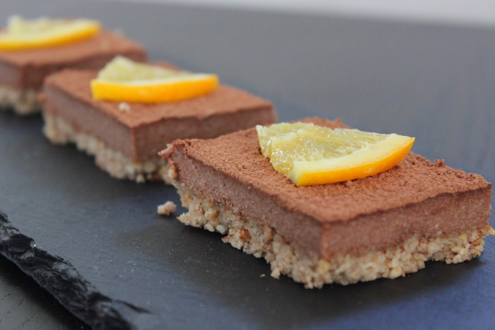 raw orange chocolate slice
