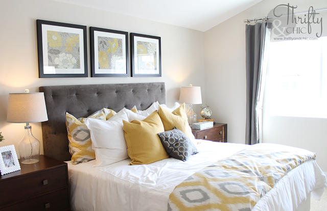 Thrifty and chic diy projects and home decor for Bedroom ideas grey and yellow