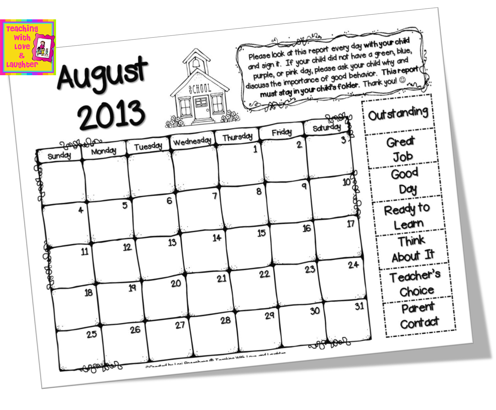 Calendar Chart : Teaching with love and laughter clip chart calendars for