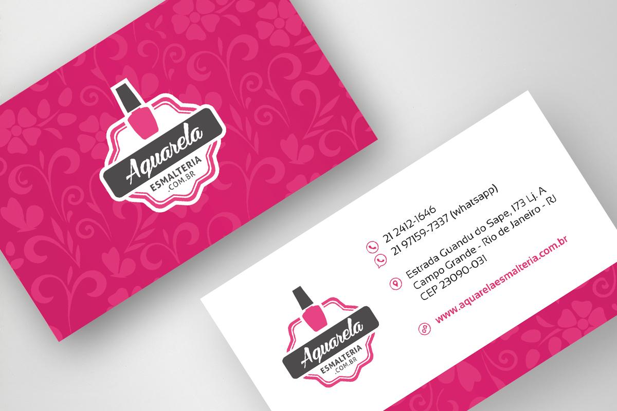 Identidade visual da Aquarela Esmalteria, cartão de visita