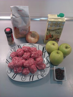 Ingredientes Albondigas con salsa de manzana y curry