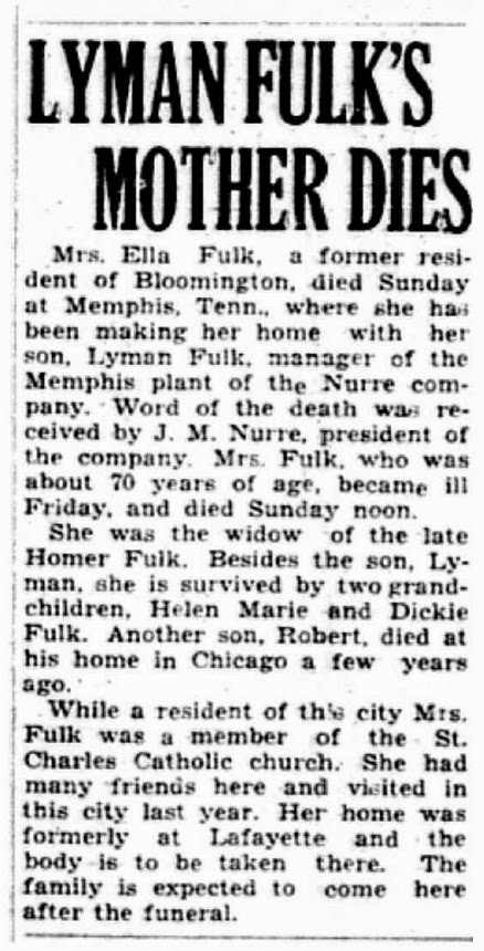 Ellen Creahan Fulk of Lafayette IN died in Memphis TN but was a long time resident of Bloomington IN