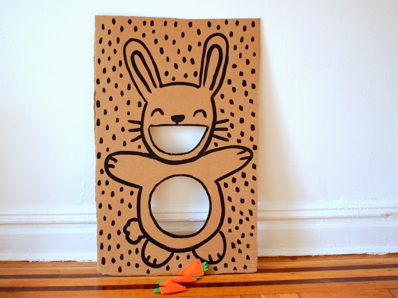 Cardboard bunny bean bag toss DIY tutorial