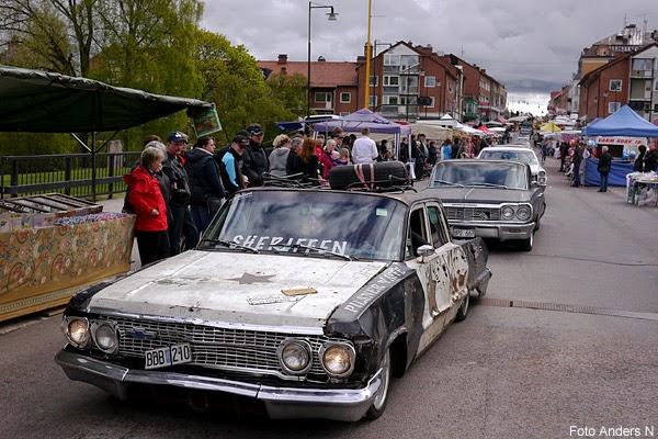 Trafikens dag, Säffle, bil, veteranbil, bilar, veteranbilar, raggare, raggarbilar, raggarbil, amerikanare, bilcortege, cortege, kortege, bilkortege, Sheriffen