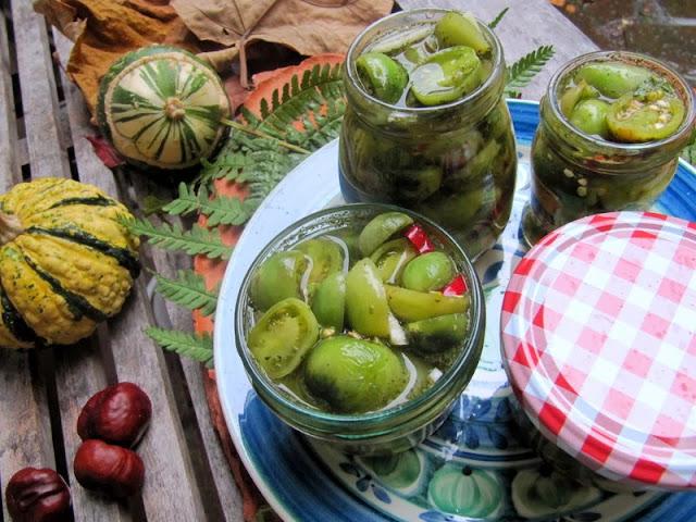 pomodori verdi in aceto o tuttalpiu` in agrodolce