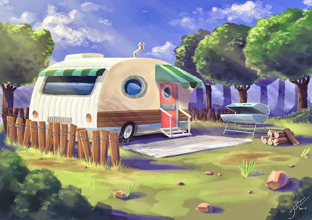 Pintura digital de cenário com trailer