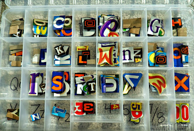 Recycled letters and numbers in the alphabet busy box from And Next Comes L