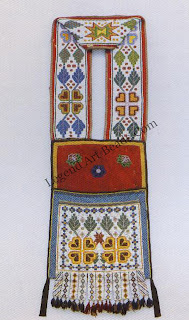 which is said to have been owned by Sitting Bull, perhaps also shows the influence of Caucasian rug designs on Plains Indian bead-work. (These rugs were frequently included in the household furnishings of settlers moving west.) In the western Great Lakes region, semigeometric flower forms produced by loomwork techniques mirror the region's juncture of eastern Wood-lands and western Plains.