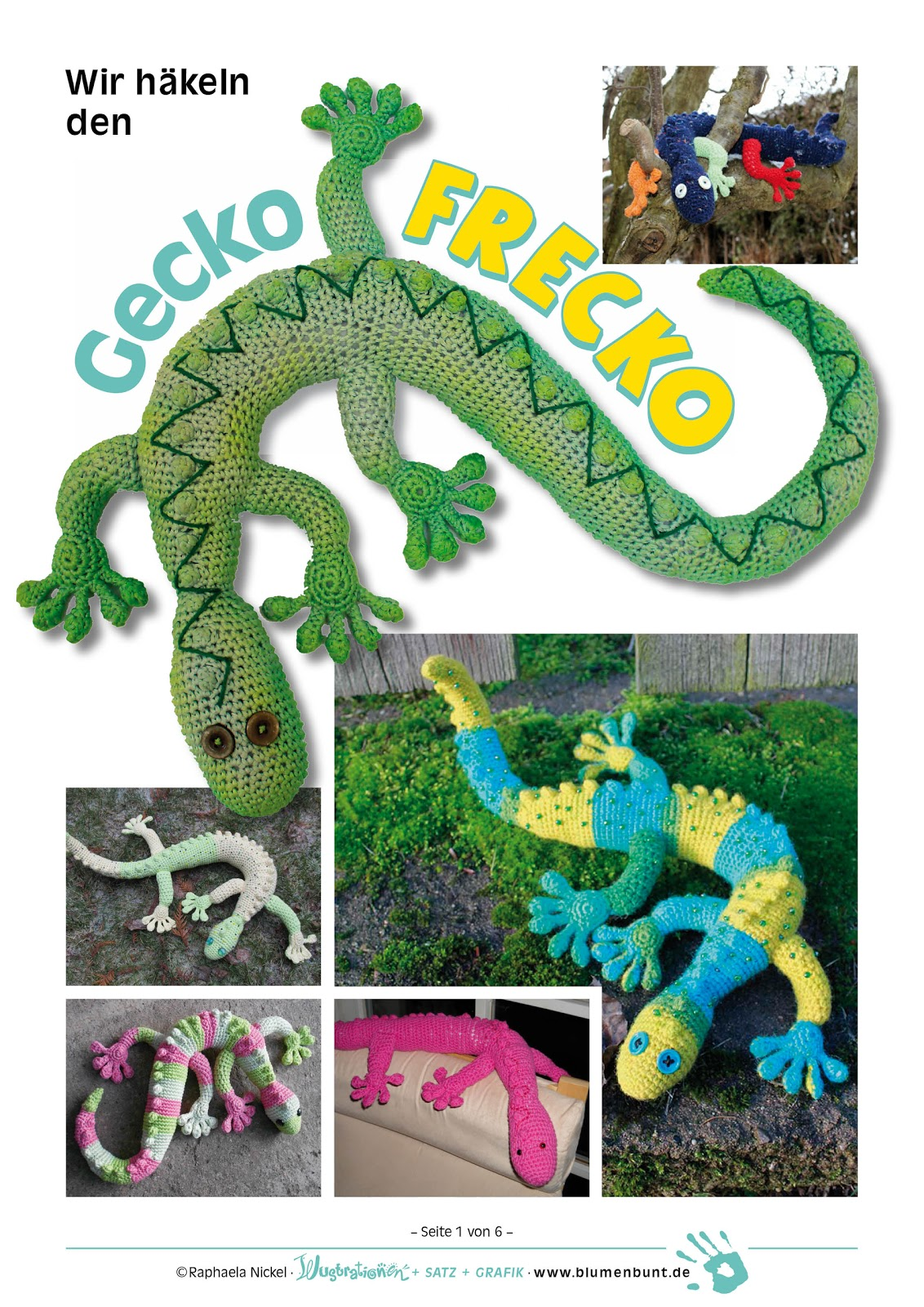 Blumenbunt: Kostenlose Häkelanleitung für Gecko Frecko