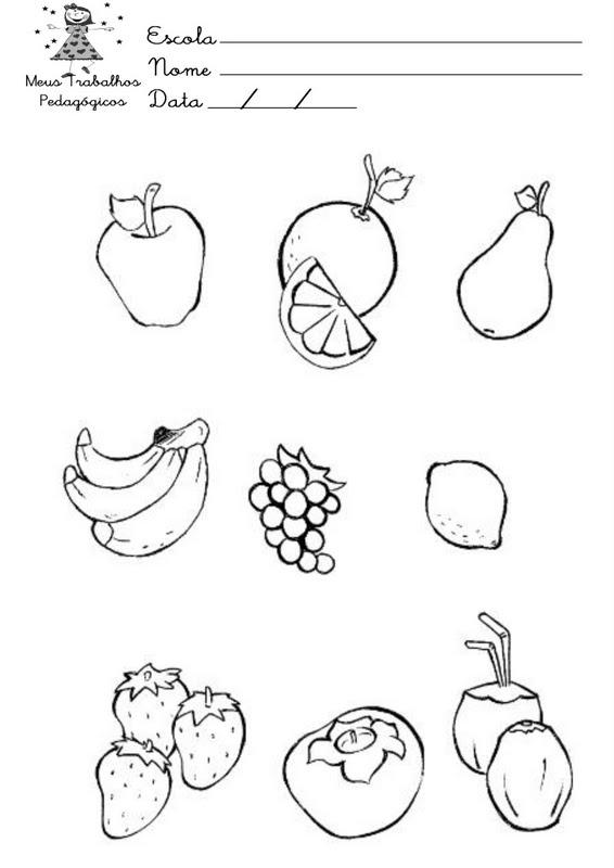 atividades alfabetizacao jardim horta pomar:dia dos pais: Imagens de frutas e verduras para colorir