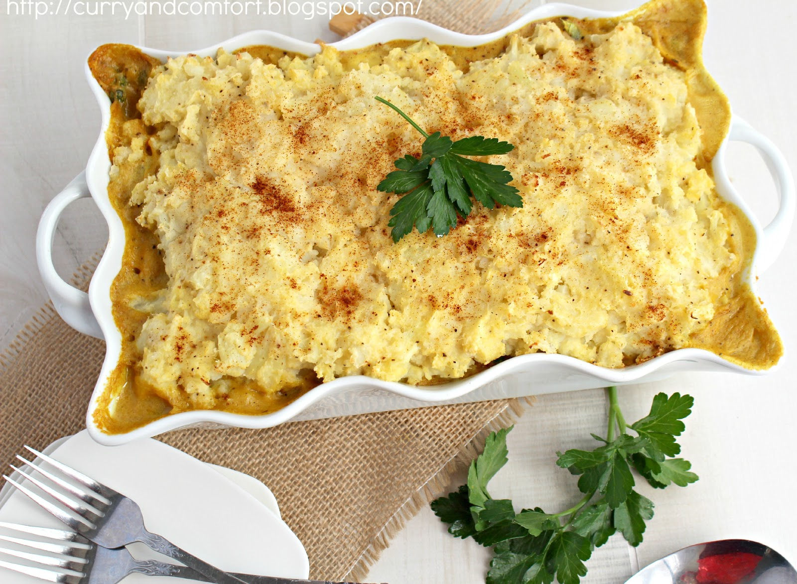 Kitchen Simmer: Curried Chicken Cottage Pie with Cauliflower Topping