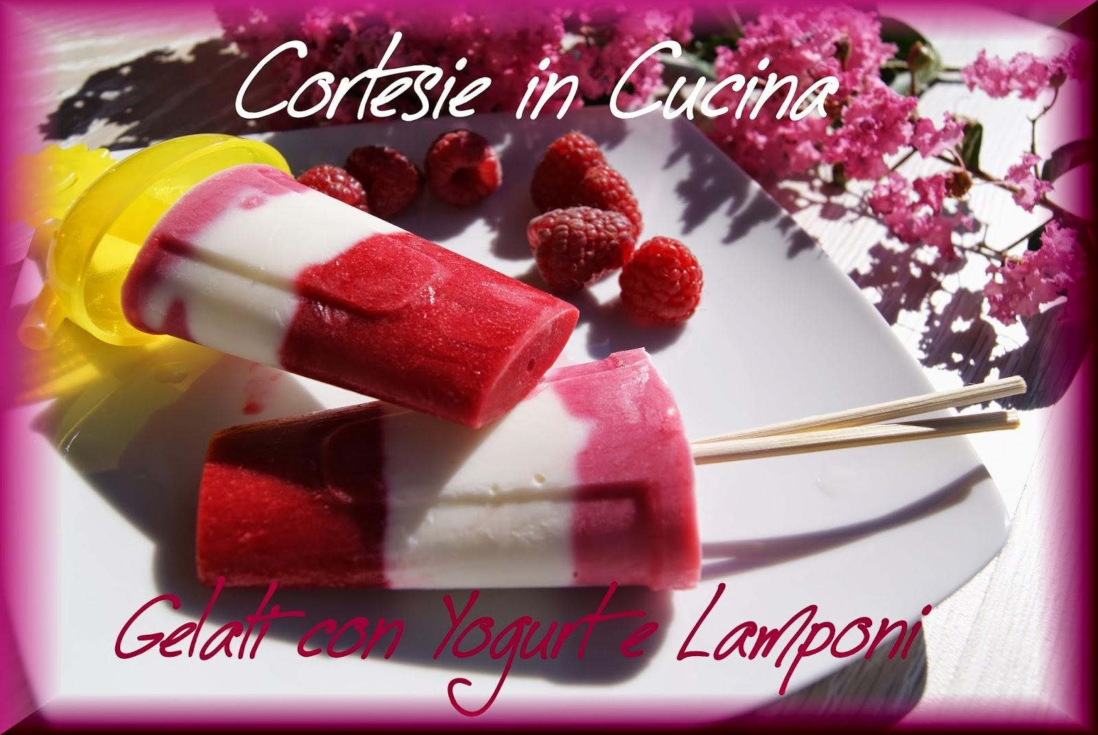 gelati con yogurt e lamponi