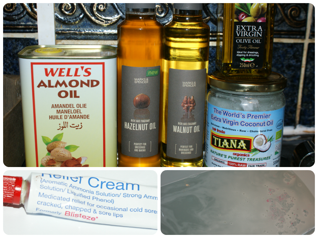 hazelnut oil, walnut oil, coconut oil, almond oil, epsom salt bath, blistex reflief cream