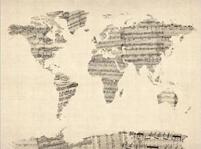 Adesivo de mapa de parede com partituras musicais formando o mapa