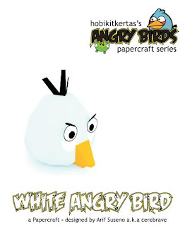 white angry bird paper craft