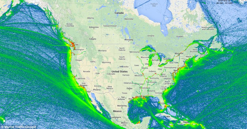 Maritime traffic density around North America
