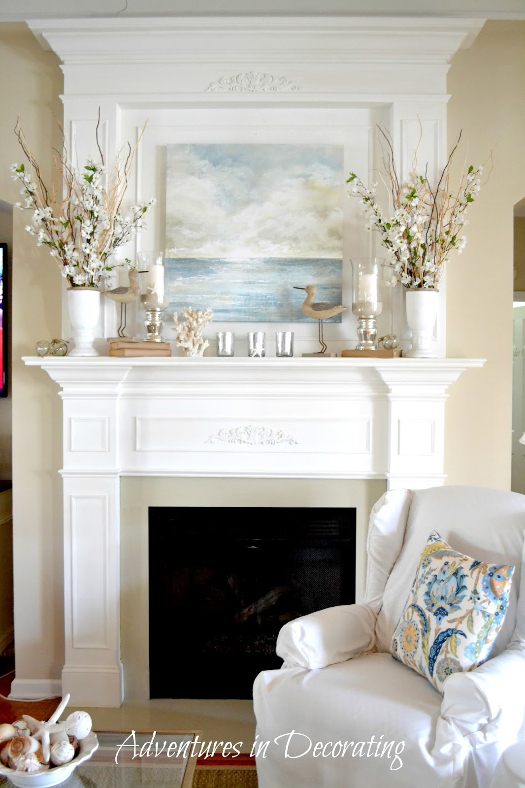 Adventures in decorating former house tour for How to design a fireplace mantel