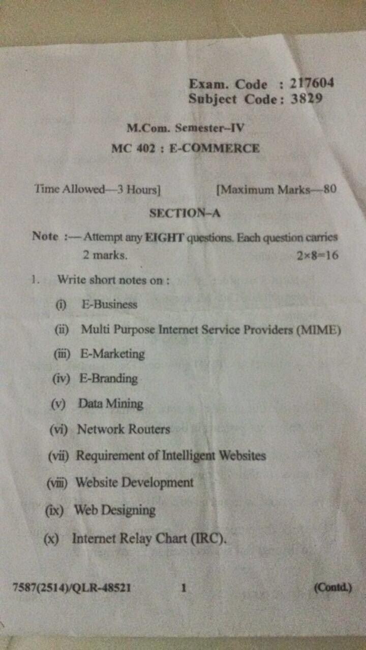 M com 4th sem E commerce Exam Question Paper