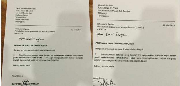 Surat Bekas MB Terengganu Umum Keluar UMNO Dan Masuk Parti Bebas